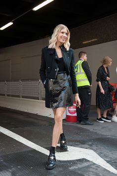 Elena Perminova gave all-black a makeover with look-at-me texture.