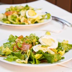 Perfect brunch salad to start the day off right, Crunchy romaine with eggs, smoked salmon, avocado, green onions and a homemade Asian dressing. Yum.