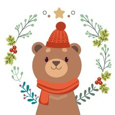 Premium Vector | The character of cute bear standing with christmas wreath.
