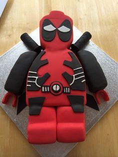 lego deadpool cake - Google Search Deadpool Cake, Lego Deadpool, Creative Desserts, Creative Cakes, 3rd Birthday Cakes, Birthday Ideas, Hubby Birthday, Birthday Parties, Daisy Cakes