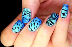 Check out this sky-and-birds-inspired nail art using a stamping plate.