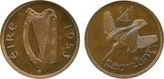 proof farthing, 1949 (S practically FDC, toned, extremely rare Ireland Pictures, Coin Design, Paddys Day, Old Coins, Irish, Stamp, Euro, Bunny, Notes