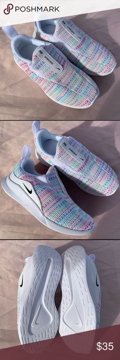 GIRL'S NIKE SNEAKERS Shoes Slip On No Laces Blue Gray Size