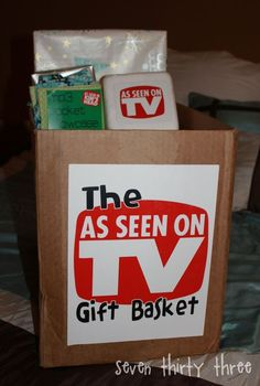 Unique & Fun Gift Basket Idea - The As Seen On TV Gift Basket - Twelve Crafts Till Christmas: twelve days of traditions: super fun gift-giving Theme Baskets, Themed Gift Baskets, Raffle Baskets, Cool Gifts, Best Gifts, Silent Auction Baskets, School Auction, Auction Projects, School Fundraisers