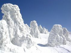 """hostly trees covered in snow and rime ice -- known as """"snow monsters"""" or juhyou (frost-covered trees) in Japanese -- are a celebrated feature of the winter landscape in mountainous areas of northern Japan. Here are a few photos."""