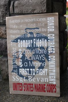 Marine corp wooden sign custom sign subway art by inspiretheinside Usmc Love, Marine Love, Once A Marine, Military Signs, Military Love, Military Crafts, Military Humor, Marine Sister, Marine Gifts