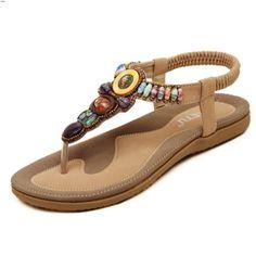 DQQ Damen Bohemian Perlen T Strap String Sandale, Beige - Aprikose - Größe: 37