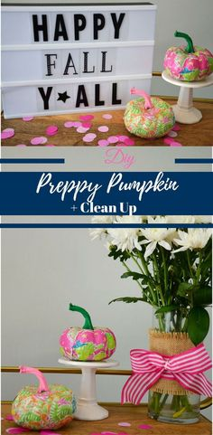 Transform your pumpkin into a DIY Preppy Pumpkin. Fun and easy was to welcome in Fall with this Lilly Pulitzer pumpkin. Halloween Books, Fall Halloween, Halloween Crafts, Halloween Ideas, Halloween Party, Fall Crafts, Crafts For Kids, Diy Crafts, Craft Tutorials