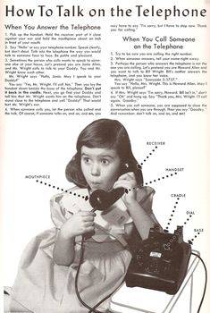 Instructions for children using the telephone, 1950′s = give a child a dial phone today and see if they could figure out how to use it.