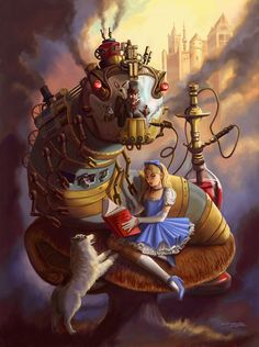 Steampunk Alice in Wonderland- White dog as white rabbit and then the Mad Hatter and March Hare control the train/machine caterpillar Lewis Carroll, Alice In Wonderland Print, Adventures In Wonderland, Art Disney, Disney Pixar, Punk Disney, Frank Brunner, Art Naruto, Art Harry Potter