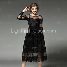 MAXLINDY Women's Lace Going out / Party / Holiday Vintage / Street chic /Midi Lace Dress 2017 - $26.99