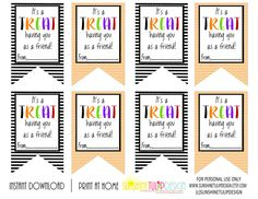 Instant download printable you are remarkable gift tags party printable halloween gift tags its a treat having you as a friend halloween gift tags negle Choice Image