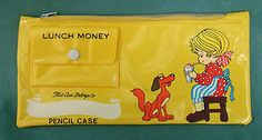 Pencil -Crayon Plastic Zippered Case with Lunch Money Pouch