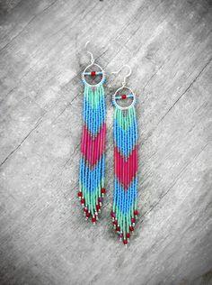 Native American Inspired Long Fringe Beaded Earrings, Beaded Shoulder Dusters, Long Seed Bead Earrings, Chevron Earrings, Cherry Bomb. $65,00, via Etsy.