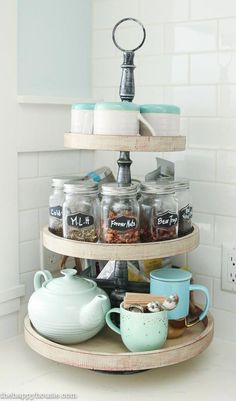 Tiered tray stands are great for storage and organization or for seasonal displays; I used mine to create a tea station in our newly organized kitchen. #kitchenorganise #kitchenorganization