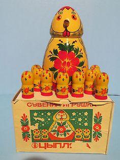 VINTAGE-RUSSIAN-SEMENOV-CHICKEN-COUNTING-SET-ORIGINAL-BOX-USSR-1924-1991