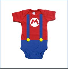 Mario Baby Costume Onesie baby infant bodysuit on Etsy, $15.00