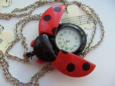 Red, Black, Silver, Ladybird, ladybug, dots, polka dot, pocket watch, necklace, pendant, by NewellsJewels on etsy