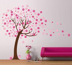 Wall Decor: Cherry Blossom Tree Wall Decal Modern Handmade Wall Design, Wall Hanging Decoration, Ideas Of Decorating Wall Diy Wand, Diy Wall Painting, Diy Wall Art, Wall Paintings, Wall Decor Stickers, Wall Decals, Tree Wall, My New Room, Wall Design