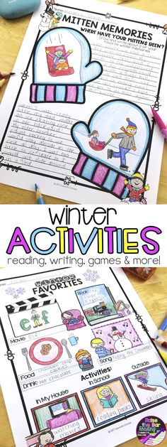 Tons of no prep winter activities to keep your students engaged! Winter themed activities include winter crafts, winter bingo, winter writing, winter reading, winter art projects and more! Winter Printables | Winter Worksheets | Winter No Prep | Holidays Printables | Holidays No Prep| Holidays Worksheets