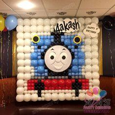 Thomas the Train Balloon Wall (6x6 ft). kids theme balloon decor #PartyWithBalloons
