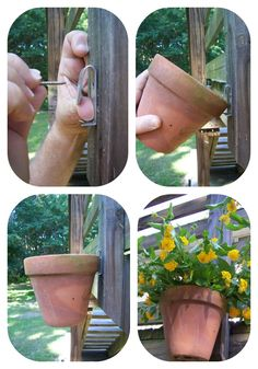 How to hang a clay pot. I think this would work well whether hanging on a fence, deck or even a tree similar to the one pinned on pinterest! (dead tree) You can do a search for clay pot hangers and come up with numerous places to purchase.