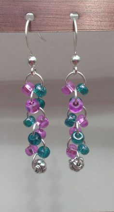 Teal/Violet Glass Beaded Dangle Earrings with Flower Bead by MysteryDealMichelle - simple Cute Jewelry, Jewelry Crafts, Beaded Jewelry, Jewelry Ideas, Fall Jewelry, Homemade Jewelry, Bijoux Diy, Bead Earrings, Chandelier Earrings
