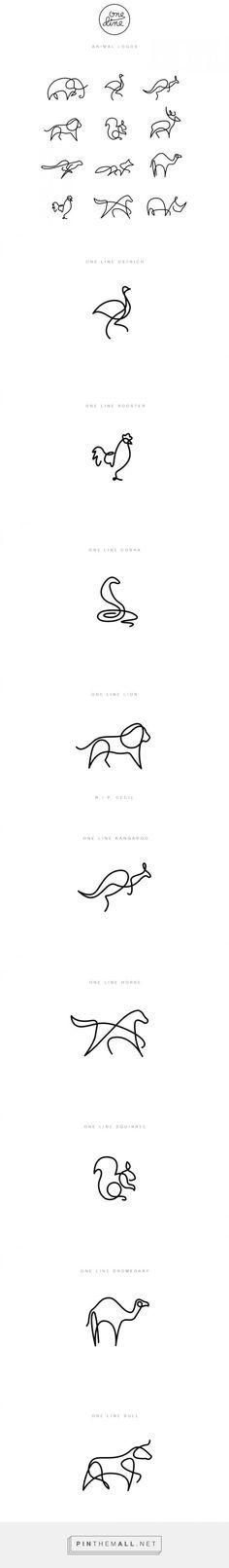 Desenhos minimalistas delineiam logos de animais - created via https://pinthemall.net: