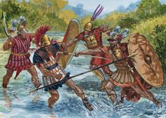 """""""Expansion (of Rome) in Italy, 4th-3rd Centuries BC"""" -art by Giuseppe Rava ~ the Romans are on the right side. I love G. Rava's artwork but I don't think a Roman line foot soldier would ever use a spear in his left hand. For a group of soldiers to be able to work together you would need uniformity. All the shield on the left amd weapons on the right."""