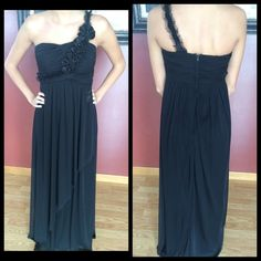 Long black formal dress The last picture is when I wore this 3 years ago, and the other ones are from today. The dress has been worn once, and is in great condition! The strap was shortened just a little because it was very low, but can be released I believe. Make offers! Price is very negation able on this! ❤️ Dresses Prom