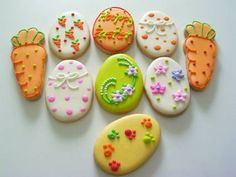 Cute Cookies, Easter Cookies, Yummy Cookies, Holiday Cookies, Cupcake Cookies, Sugar Cookies, Cookie Designs, Easter Party, Easter Recipes