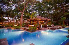Beach club pool at night, kosher travel Costa Rica