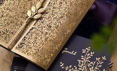 Gold wedding stationery - Very elegant. Hot Trends: Fall in Love with These Super Unique Laser Cut Wedding Invitations Laser Cut Invitation, Laser Cut Wedding Invitations, Wedding Stationary, Invitation Design, Invites, Unique Invitations, Invitation Envelopes, Indian Wedding Invitations, Weeding Invitation Ideas