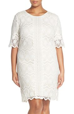 Adrianna Papell A-Line Lace Shift Dress (Plus Size) available at #Nordstrom