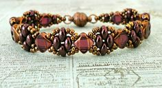 "SILKY STACKER   11/0 seed beads Miyuki ""Metallic Chocolate"" (461)  8/0 seed beads ""Chocolate"" (no info available)  Silky beads ""Deep Amet..."