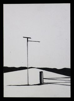 This original contemporary art pencil drawing belongs to a series of studies of the Australian landscape, how we illuminate and divide the vast spaces we have in our country. Solar powered street lights and phone boxes are features within each work.    This is an original pencil drawing on white artists quality paper.