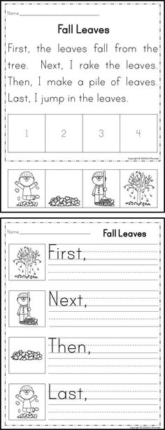 For these activities, students will sequence stories using the words first, next, then, and last. There are three activities included with each sequencing story for differentiation.