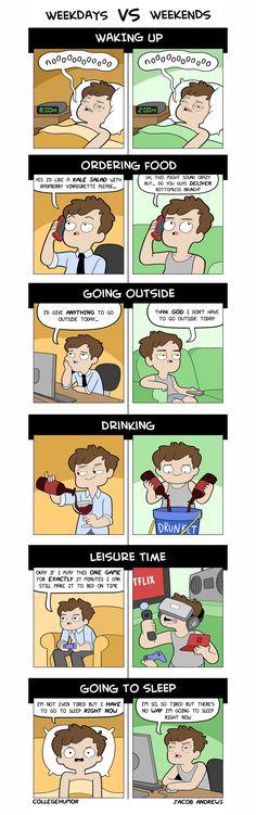 Dieser Comic zeigt uns, was Wochenende wirklich bedeutet Schon am Montag freuen wir uns wie wild aufs Wochenende. Weil wir dann endlich ausschlafen, unsere Party-Pläne in die Tat umsetzen, um die Häuser zi...