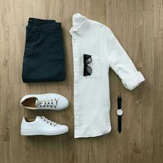 There is nothing better an a #white #shirt paired with sneakers & denims   #men #fashion #outfit #flatlay