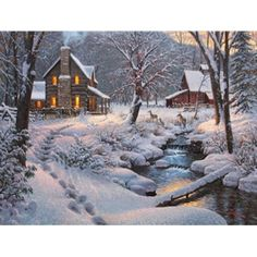 Thomas Kinkade: Farmhouse in Winter Vintage Farm, Vintage Winter, Christmas Scenes, Christmas Art, Christmas Houses, White Christmas, Winter Landscape, Landscape Art, Thomas Kinkade Art