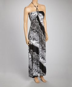 Look at this #zulilyfind! Black & Gray Abstract Halter Maxi Dress #zulilyfinds