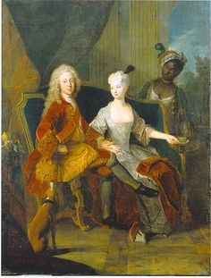 Antoine Pesne — Portrait of the crown prince Friedrich Ludwig of Württemberg and his wife Henriette Marie of Brandenburg-Schwedt, 1716 : The Staatliches Museum Schwerin, Schwerin. Black History, Art History, Ludwig Xiv, Sibylla Merian, Renaissance, 18th Century Fashion, 17th Century, Old Paintings, Portrait Paintings