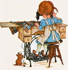 Betsey Clark, Holly Hobbie, Sarah Kay e outros Sarah Key, Holly Hobbie, Decoupage, Papier Kind, Sewing Humor, Quilting Quotes, Sewing Quotes, Vintage Sewing Machines, Sewing Art