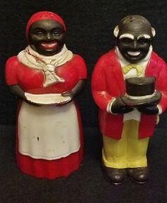Vintage Aunt Jemima  Uncle Mose salt  pepper shakers FF Black Americana 5 - $ 49.95