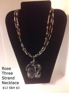 Rose Three Strand Necklace