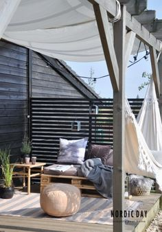 Beautiful pergola and terrace in Scandinavian style and such a hammock ., I would also like to have a beautiful pergola and terrace in Scandinavian style and such a hammock. Outdoor Rooms, Outdoor Gardens, Outdoor Living, Outdoor Decor, Outdoor Hammock, Outdoor Pallet, Outdoor Lounge, Gazebos, Boho Deco