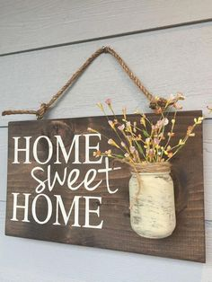 Porch Decor, Home sweet home rustic front door sign decor, Gift, Outdoor signs for house & home, front porch wood sign decoration - Rustic Outdoor Home Sweet Home Wood Signs Front by RedRoanSigns - Diy Home Decor Rustic, Easy Home Decor, Cheap Home Decor, Farmhouse Decor, Rustic Wood Crafts, Rustic Outdoor Decor, Farmhouse Style, Diy Wood Crafts, Cheap Rustic Decor