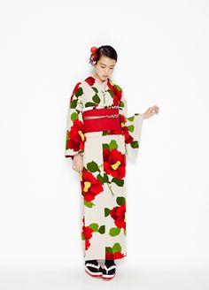 【2014ふりふ着物・小紋】椿オーバジーン
