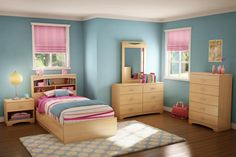 Cool Twin Bedroom with Wooden Furnitures Set Includes Bookcase Bed and Bedside Table and Drawers also Dresser and Mirror Looks Matching with Sky Blue Wall Paint Color and Brown Wooden Floor