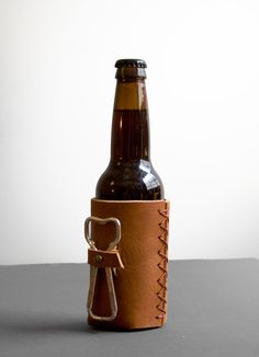 Forge / Leather Beer Holder With Vintage Bottle Opener   Awl Snap Leather Goods